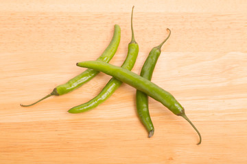 Four Green Chili Peppers