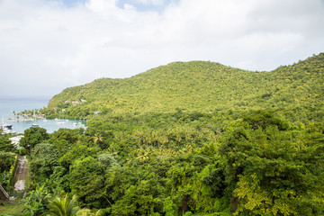 Green Tropical Hills Over Marigot Bay