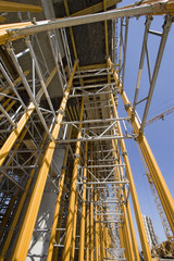Bridge column with scaffolding on construction site