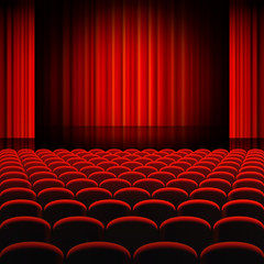 Red Curtains Theater Stage
