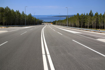 Four lane road from Biokovo mountain to Adriatic coast