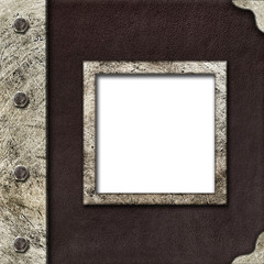 Cloth album cover with an iron rootlet and frame for photo