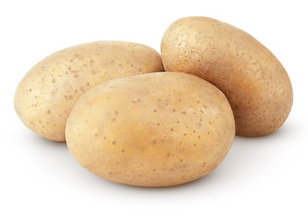 Three potatoes isolated on white background with clipping path