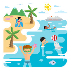Vector flat illustration of sea and young people at the beach