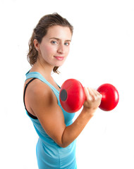 Girl holding a weight