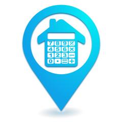 calculatrice maison sur symbole localisation bleu