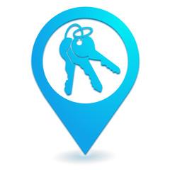 clef sur symbole localisation bleu