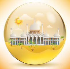Oriental palace in the glass sphere