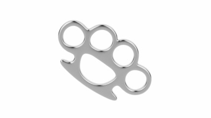 Brass knuckles spin on white background