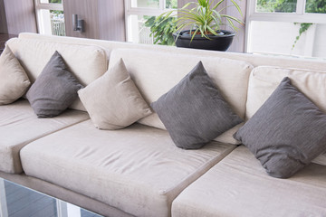Sofa and pillows in living room