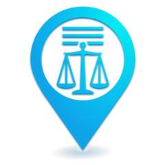 mentions légales sur symbole localisation bleu