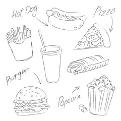 fast food sketch on a white background