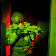 Special forces soldier or contractor during night mission/operat