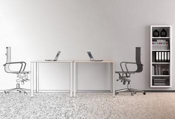 Büro - Strichzeichnung