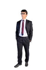 Isolated young business man