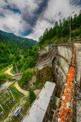 Small hydro electric dam harnessing water power in a mountain ar