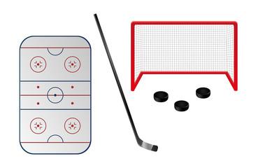 Set of ice hockey elements