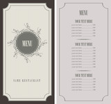 Fototapety menu for the restaurant in retro style