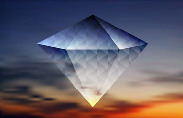 Abstract shiny diamond on the sky background