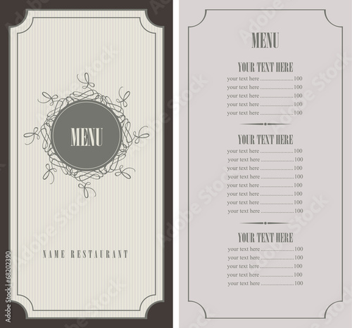 menu for the restaurant in retro style - 68202390