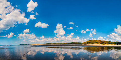 Panoramic view of seascape in Aberdovey beach Wales