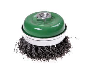 rotating metal brush or grinding disk