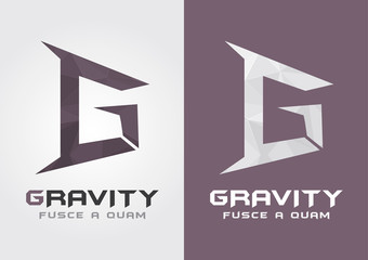 G Gravity. Icon from alphabet G. Creative Movement.