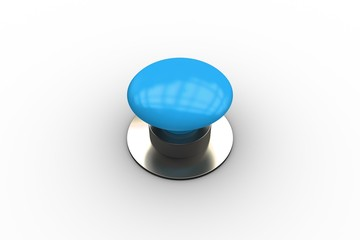 Digitally generated shiny blue push button