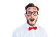 Leinwandbild Motiv Geeky hipster with kisses on his face