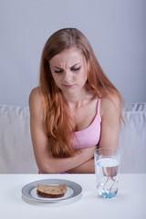 Starving girl before breakfast