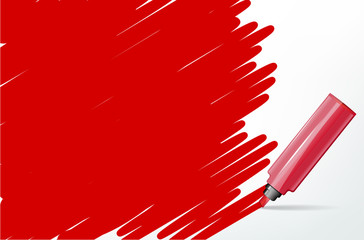 Red background with marker and scribble - place for your text