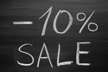 10-percent sale title written with a chalk on the blackboard
