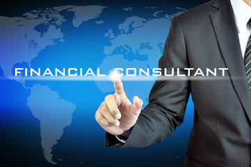Businessman hand pointing to FINANCIAL CONSULTANT sign