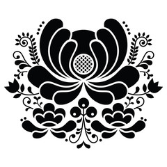 Norwegian folk art black and white pattern - Rosemaling style