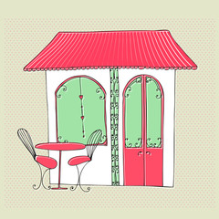 illustrated cute street cafe