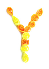 """The letter """"Y"""" is made of quilling isolated on white"""