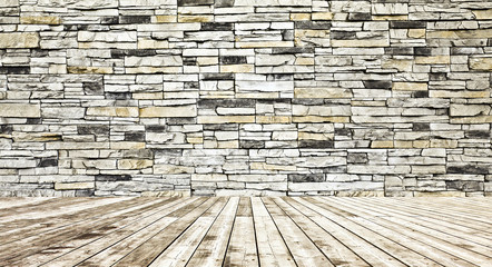 color concrete wall and wooden floor