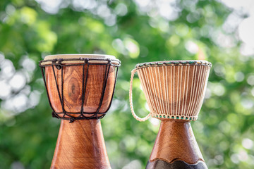 wooden djembe drums