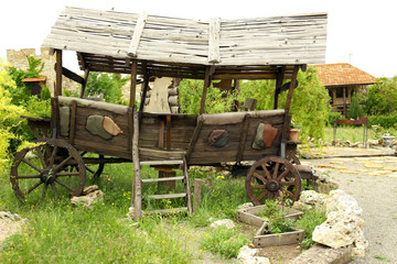 Old wooden cart, outdoors
