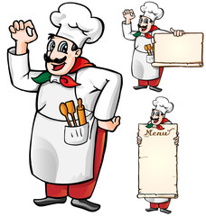 italian chef set isolated