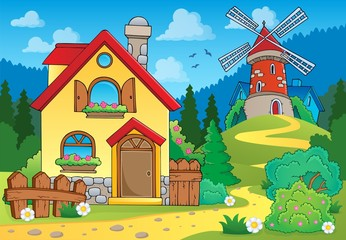 Spring theme house and windmill