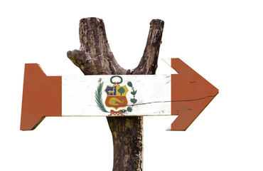 Peru wooden sign isolated on white background