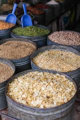 Various spices at the market Marrakech, Morocco