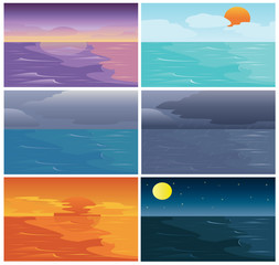 Set of Time of Sky Sea and Ocean