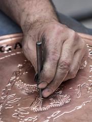 Making pattern on copper tray, Gaziantep, Turkey