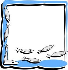 simple frame with abstract fish