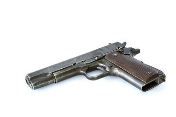automatic pistol on white background
