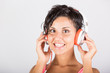 Young Woman Listening Music with Headphones