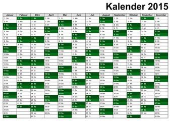Kalender / Wandkalender 2015 V3 im DIN-Format - A6, A5, A4, A3