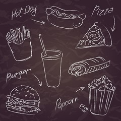 fast food sketch on a dark background